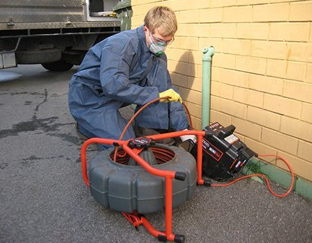 Saratoga Hydro-jetting services are carried out by a technician